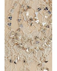 Marchesa - Natural Embellished Lace Gown - Lyst
