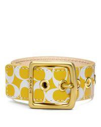 COACH | Metallic Signature C Leather Buckle Bracelet | Lyst