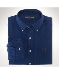 Polo Ralph Lauren | Blue Classicfit Washed Linen Military Shirt for Men | Lyst