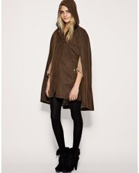ASOS Collection - Brown Asos Waxed Cotton Cape - Lyst
