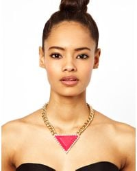 ASOS | Pink Curb Chain Triangle Necklace | Lyst