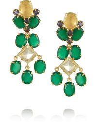 Bounkit | 24karat Goldplated Onyx and Quartz Clip Earrings Green | Lyst