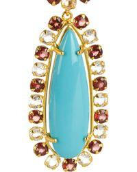 Bounkit - Blue 24karat Goldplated Turquoise and Garnet Clip Earrings - Lyst