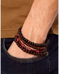 River Island | Brown Beaded Bracelet Pack for Men | Lyst