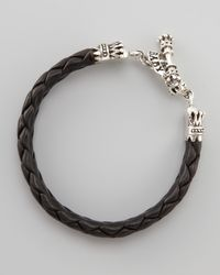 King Baby Studio - Gray Crown Toggle Leather Bracelet for Men - Lyst