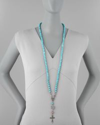 Love Heals - Blue Long Beaded Cross Necklace - Lyst