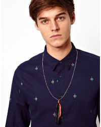 ASOS - Black Asos Double Feather Necklace for Men - Lyst