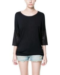 Zara | Black T-shirt with Combination Sleeves | Lyst