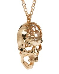 River Island - Metallic Gold Crystal Talking Skull Long Pendant Necklace - Lyst