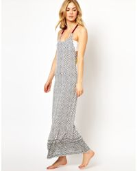 ASOS | Gray Macrame Back Printed Maxi Beach Dress | Lyst
