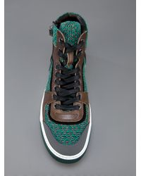 Lanvin | Green Hitop Knit Trainer for Men | Lyst
