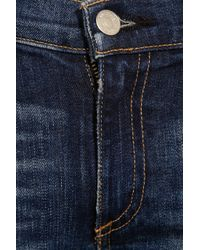 Rag & Bone - Blue Distressed Midrise Skinny Capri Jeans - Lyst