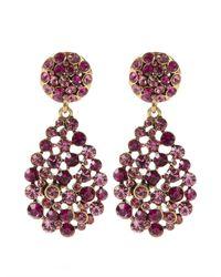 Oscar de la Renta | Purple Teardrop Multi Stone Earrings | Lyst