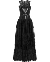 Valentino - Black Leather, Lace And Tulle Gown - Lyst