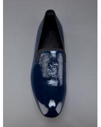 Alexander McQueen   Blue Skull Detail Slipper for Men   Lyst