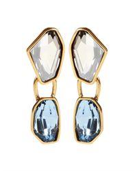 Oscar de la Renta - Blue Swarovski Abstract Faceted Crystal Earring - Lyst