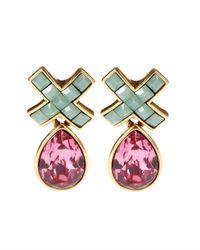 Oscar de la Renta | Pink Swarovski Pave X Drop Pierced Earring | Lyst