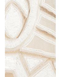 Alberta Ferretti | Natural Beadembellished Tulle and Silk Dress | Lyst