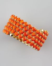 Cara | Orange Crystal Spiral Bracelet | Lyst