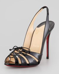 Christian Louboutin | Black Corsetica Patent Leatherpvc Slingback Red Sole Sandal | Lyst