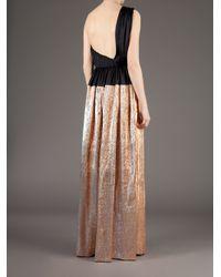 Maison Rabih Kayrouz   Gold Full Length Bi-Colour Dress   Lyst