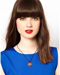 Tatty Devine - Red Enamel Love Necklace - Lyst