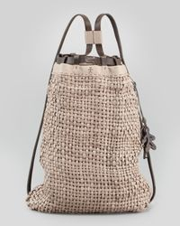 Henry Beguelin - Brown Woven Leather Backpack Tote Bag - Lyst
