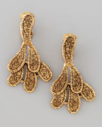 Oscar de la Renta - Metallic Cast Lace Clip Earrings - Lyst