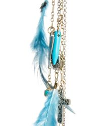 River Island - Blue Single Skull and Feather Dangle Earring - Lyst