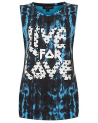 TOPSHOP | Blue Live For Love Tank | Lyst