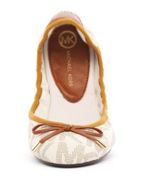 Michael Kors - Natural City Logoprint Ballerina Flat - Lyst