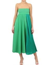 Antonio Marras - Green Cotton Voile and Jersey Long Skirtdress - Lyst