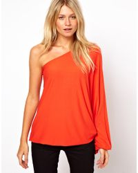 ASOS | Red Top with One Shoulder Volume Sleeve | Lyst