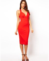 ASOS | Red Knot Back Ponte Pencil Dress | Lyst