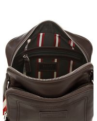 Bally - Black Leather Report Crossbody Bag - Lyst