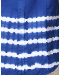 Band of Outsiders | Blue Placement Stripe Short Sleeve Shirt for Men | Lyst