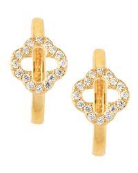 Belargo - Metallic Pave Cubic Zirconia Open Clover Huggie Earrings - Lyst