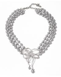 Brooks Brothers - Metallic Pave Bow Four Strand Pearl Necklace - Lyst
