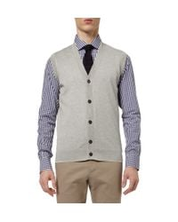 Dunhill - Gray Cottonjersey Sleeveless Cardigan for Men - Lyst