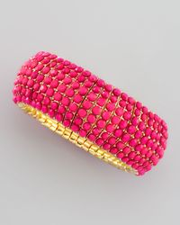 Panacea - Pink Beaded Stretch Bracelet - Lyst