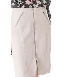 Rebecca Taylor - White Leather Pencil Skirt - Lyst