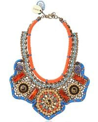 Sveva Collection - Orange Josephine Baker Embroidered Necklace - Lyst