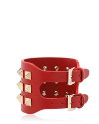 Valentino - Red Large Rockstud Leather Bracelet - Lyst