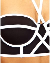 ASOS | White Longline Padded Contrast Fuller Bust Bikini Top  | Lyst