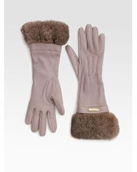 Burberry | Gray Juliette Rabbit Fur-trimmed Leather Gloves | Lyst