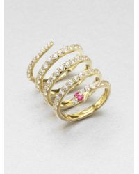 Elizabeth and James | Metallic White Sapphire Snake Coil Ring | Lyst