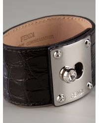 Fendi - Black Textured Leather Cuff - Lyst