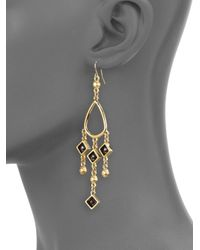 Kara Ross - Metallic Hematite Chandelier Earrings - Lyst