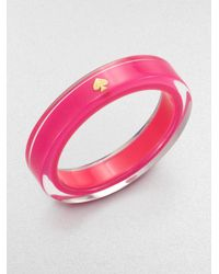 kate spade new york - Pink Spade Bangle Bracelet - Lyst