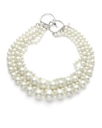 Lafayette 148 New York | White Faux Pearl Four Strand Convertible Necklace | Lyst